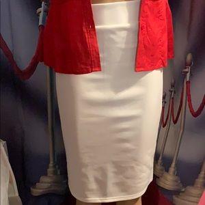 "NWT White straight skirt 24"" long size small & med"